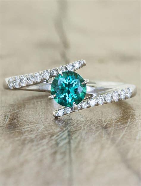 cultured green emerald ring asymmetrical band ken