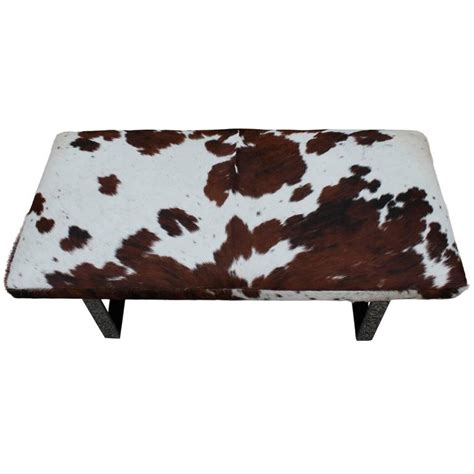 Cowhide Bench Ottoman by Striking Cowhide And Chrome Bench Of Ottoman At 1stdibs