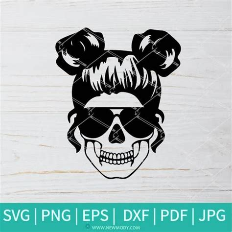 A woman's hair tied in a messy bun on the top of her head. Mom Life Skull SVG - Messy bun hair SVG in 2020 | Mom life ...