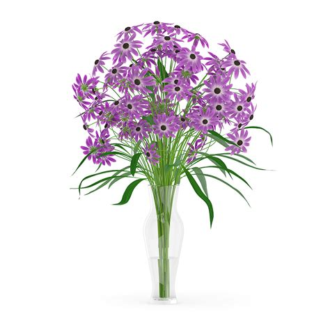 Purple Glass Vase by Purple Flowers In Glass Vase