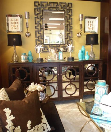 brown and aqua living room ideas decorate with small turquoise accessories for a big kick