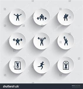 Gym, Fitness Exercises, Training Icons On Round 3d Shapes ...
