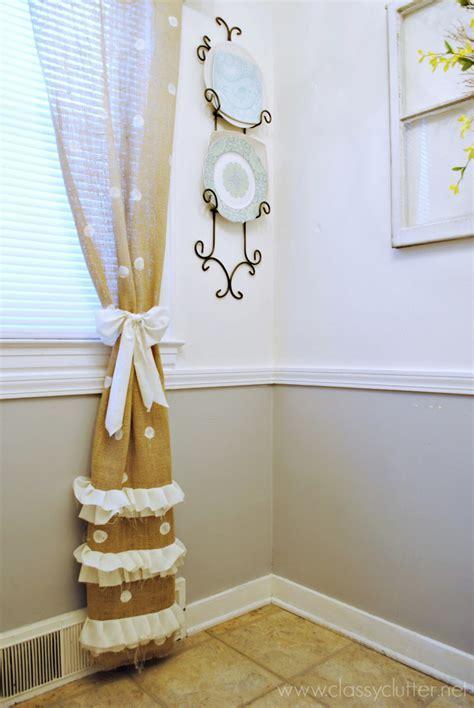 DIY Polka Dot Burlap Curtains   Classy Clutter