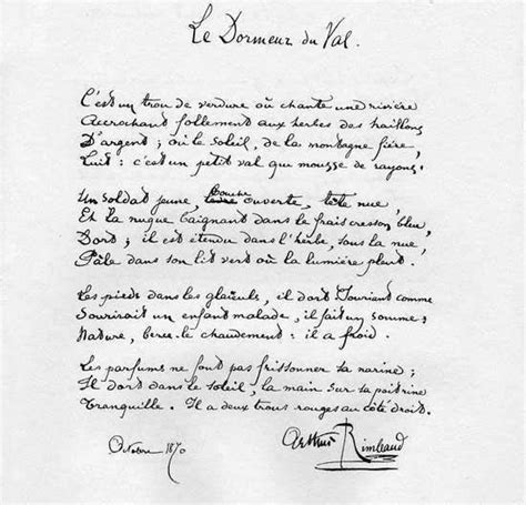 le dormeur du val poeme manuscrit original le dormeur du val arthur rimbaud