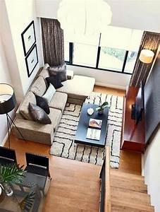 1001 idees pour amenager une chambre en longueur des for Tapis design avec canapé angle petite taille