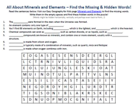 minerals  elements worksheet  geography activity