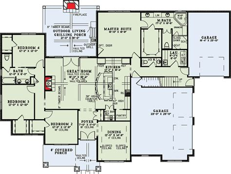 great room house plans craftsman home with vaulted great room 60631nd