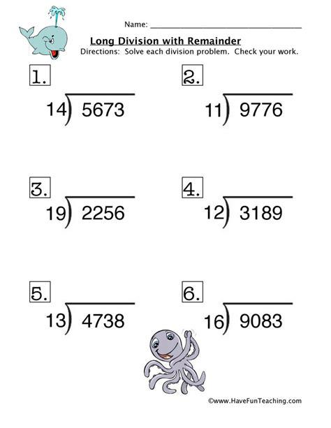 long division  remainder worksheet  fun teaching