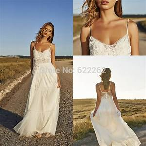 unique design a line spaghetti straps beach wedding With spaghetti strap beach wedding dress