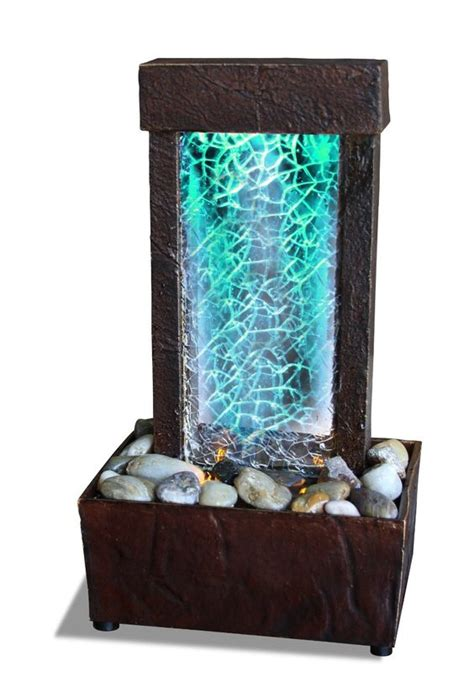 mini water fountain for desk cracked glass light show led indoor fountain tabletop