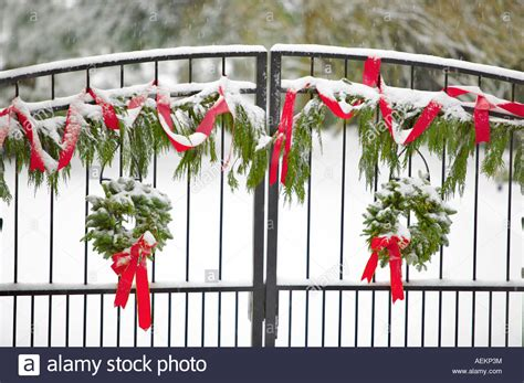 gate  christmas wreaths  decorations stock photo