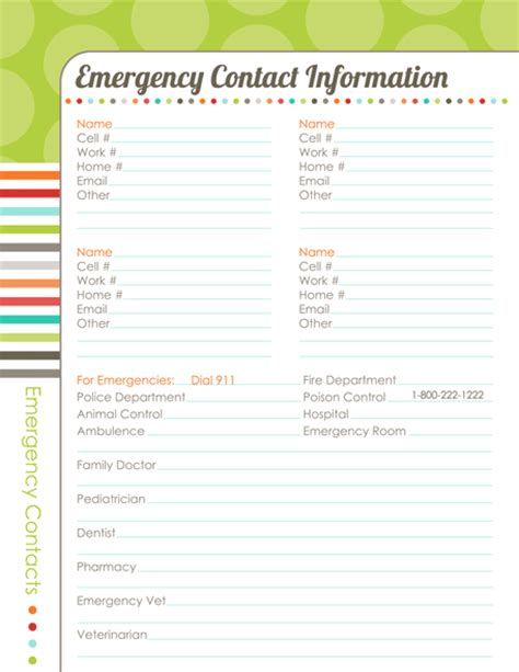 emergency contact template organizing planner the harmonized house project worldlabel