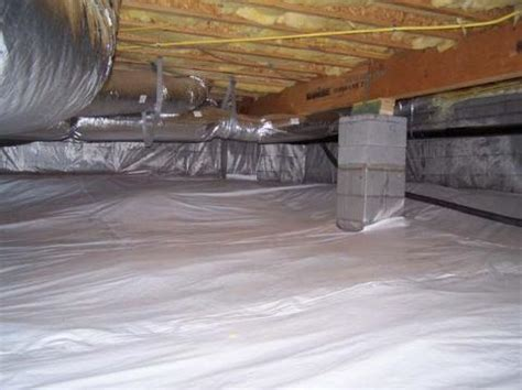 covering basement crawl space floor with plastic vapor barrier capillary break at crawlspace floors polyethylene lapped up walls and piers or secured in the