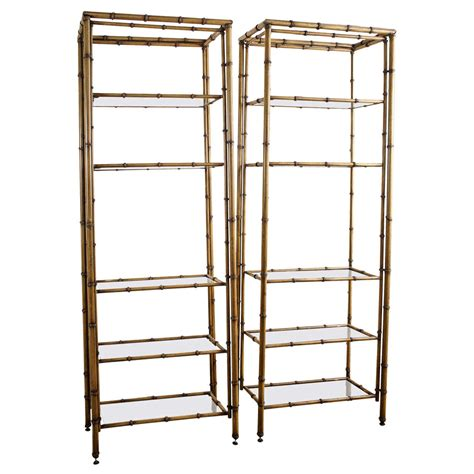vintage bookcase for pair of painted metal faux bamboo etageres at 1stdibs 6779