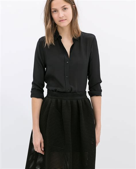 zara blouse zara silk blouse in black lyst
