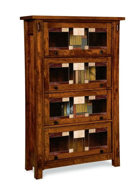 Solid Hardwood Bookcases by Amish Handcrafted Barrister Bookcase Craftsman Leaded