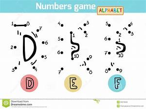 numbers game alphabet letters d e f stock vector With letters and numbers game