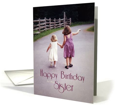 happy birthday   sister girls holding hands  country
