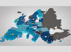 3D Map Of The European Union With All Countries, Ordered