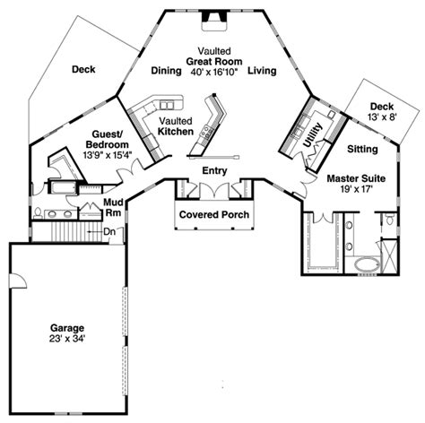 contemporary ranch  hexagonal great room da st floor master suite cad