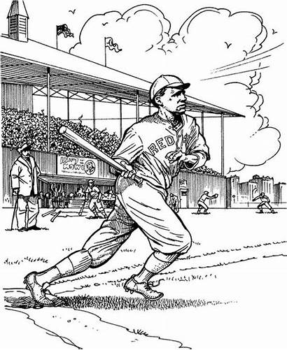 Coloring Baseball Pages Sox Boston Batter Sports