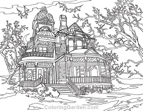 printable haunted house adult coloring page     format  http