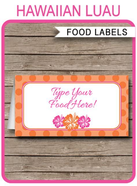 hawaiian luau party food labels place cards hawaiian