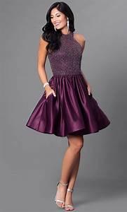 Short Eggplant Purple Satin Homecoming Dress-PromGirl