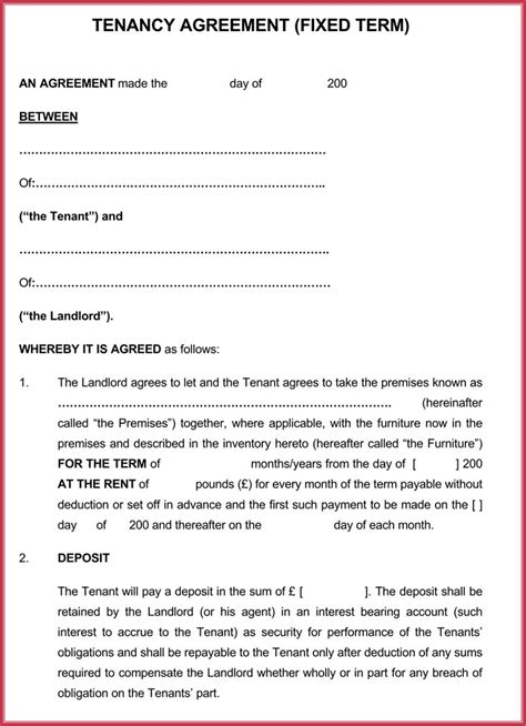 month  month rental agreement forms templates