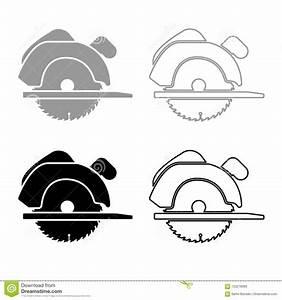 Manual Circular Saw Icon Outline Set Grey Black Color