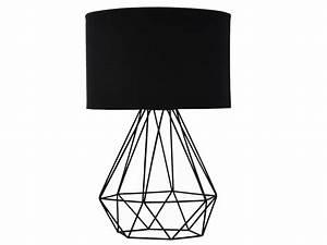 Lampe A Poser : lampe poser ninon en m tal et tissu noir l25xp25xh38 cm ~ Nature-et-papiers.com Idées de Décoration