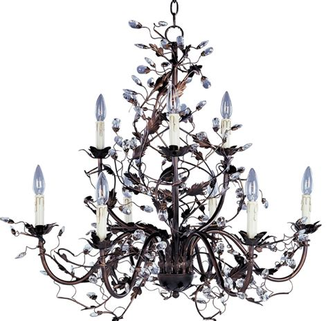 rubbed bronze leaf and vine chandelier