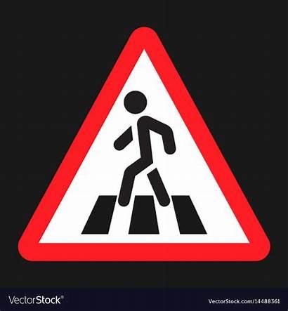 Pedestrian Crosswalk Crossing Sign Vector Icon Flat