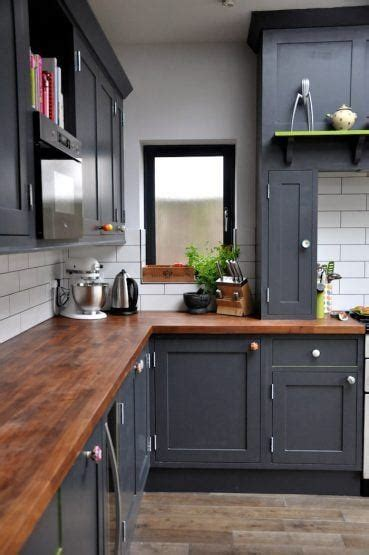 gray kitchen cabinets butcher block countertops cost lowes