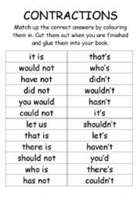 english worksheets contractions cut  paste