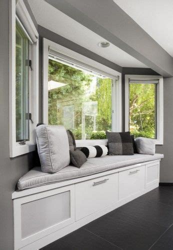 bay window treatments  storage solutions north view