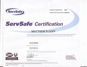 matthew goff39s portfolio certifications and scholarships With servsafe certificate template