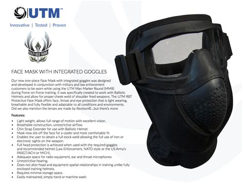 utm rbt introduces    fully integrated face mask