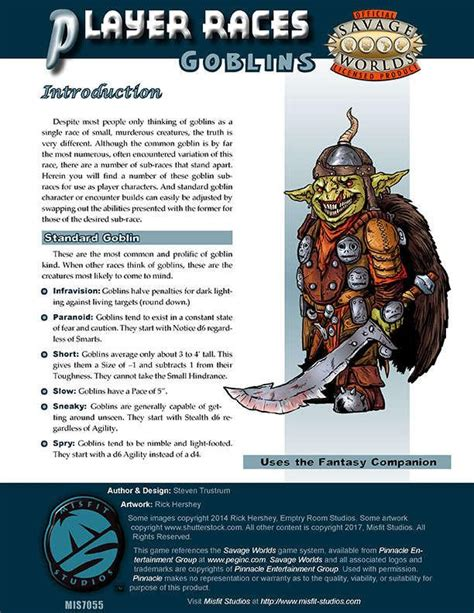 Player Races: Goblins for Savage Worlds – Open Gaming Store