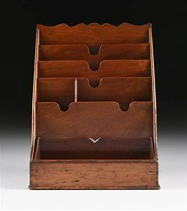 antique carved mahogany desktop letter and accessories stand With letter table stand