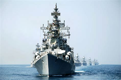 Rajput-class Destroyer Of The Indian Navy At Exercise