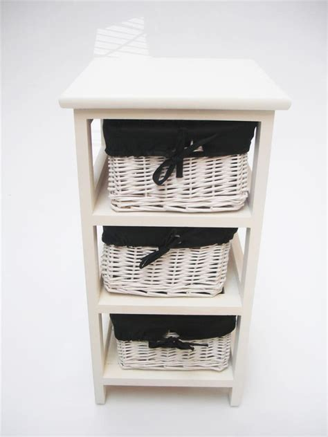 white narrow bedside cabinet 3 chest of draws drawer