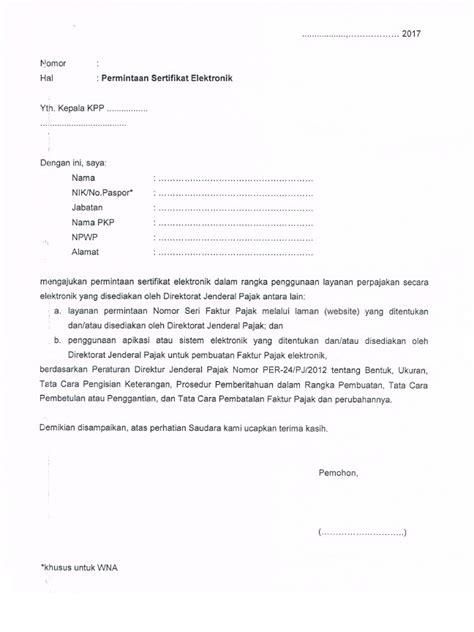 contoh surat permohonan e faktur pajak surat 0