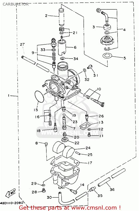 yamaha yfb250e timberwolf 1993 carburetor schematic
