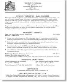 resume for early childhood educator early childhood education resume sles resume format 2017