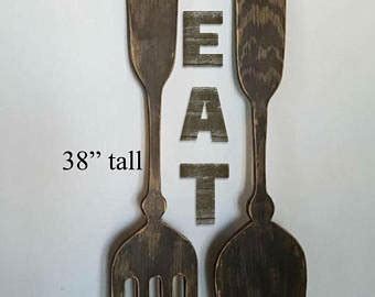 Diy large silver wall decor using dollar tree items|simple and inexpensive wall decor! Extra Large Fork Knife and Spoon Wall Art EAT Sign Set on