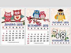 Calendário 2018 para imprimir Tema Corujas Aluno On