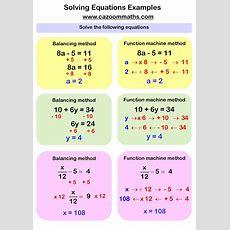 Solving Equations Worksheets  Cazoom Maths Worksheets
