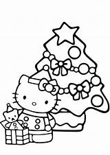 Christmas Kitty Tree Coloring Pages Printable Hello Holidays sketch template