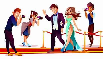 Cartoon Famous Carpet Celebrities Paparazzi Vector Couple